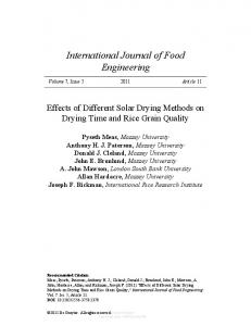Effects of Different Solar Drying Methods on Drying ...