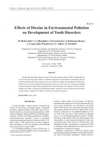 Effects of Dioxins in Environmental Pollution on Development of Tooth ...