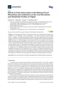 Effects of Early Intervention with Maternal Fecal Microbiota and ... - MDPI