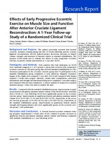 Effects of Early Progressive Eccentric Exercise on Muscle Size and ...