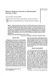 Effects of Endurance Exercise on Mitochondrial Function in ... - J-Stage