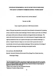 EFFECTS OF ENVIRONMENTAL POLICY ON THE ...