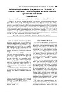 Effects of Environmental Temperature on Life Tables of Rhodnius ...