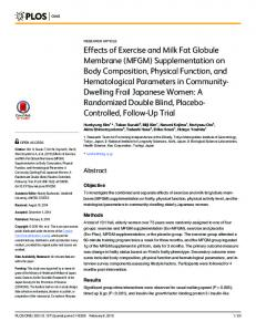 Effects of Exercise and Milk Fat Globule Membrane (MFGM) - PLOS