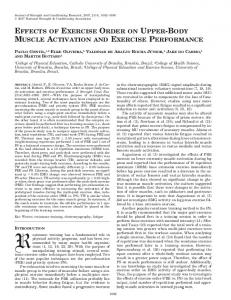 effects of exercise order on upper-body muscle ... - Semantic Scholar