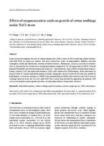 Effects of exogenous nitric oxide on growth of cotton