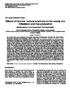 Effects of farmers' cultural practices on the weedy rice ... - CiteSeerX