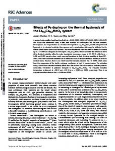 Effects of Fe doping on the thermal hysteresis of the