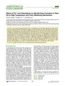 Effects of Fe3+ and Antioxidants on Glycidyl Ester ... - ACS Publications
