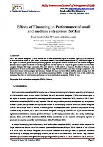 Effects of Financing on Performance of small and ...