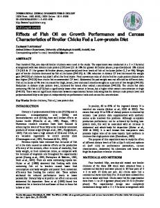 Effects of Fish Oil on Growth Performance and Carcass Characteristics ...