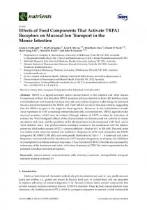 Effects of Food Components That Activate TRPA1 Receptors ... - MDPI