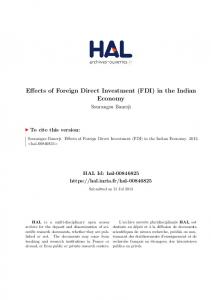 Effects of Foreign Direct Investment (FDI) in the Indian Economy