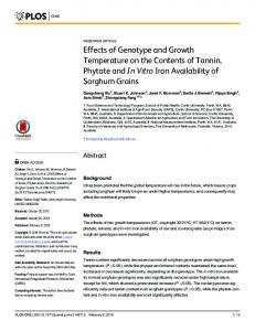 Effects of Genotype and Growth Temperature on ... - Semantic Scholar