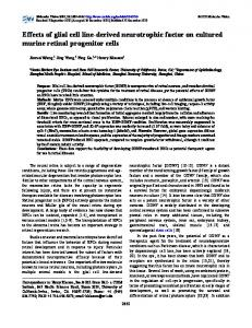 Effects of glial cell line-derived neurotrophic factor on ... - CiteSeerX