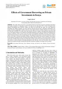 Effects of Government Borrowing on Private Investments in Kenya