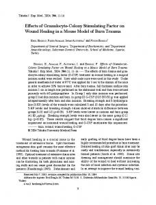 Effects of Granulocyte-Colony Stimulating Factor on Wound Healing in ...
