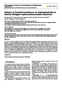 Effects of Growth Conditions on Hydrophobicity in Marine Obligate ...
