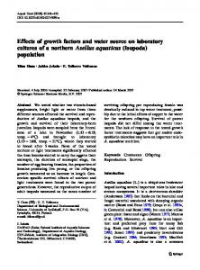 Effects of growth factors and water source on ... - Springer Link