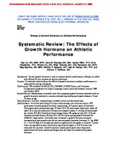 Effects of Growth Hormone on Athletic Performance - UCLA CTSI