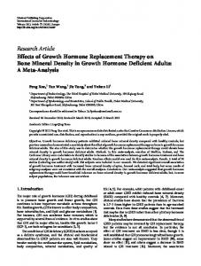 Effects of Growth Hormone Replacement Therapy on Bone Mineral ...