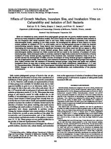 Effects of Growth Medium, Inoculum Size, and Incubation Time on