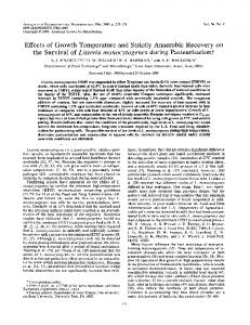 Effects of Growth Temperature andStrictly Anaerobic Recovery on the ...