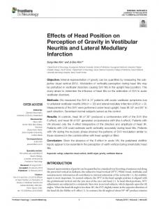 Effects of Head Position on Perception of Gravity in ...
