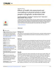 Effects of health risk assessment and counselling on physical ... - PLOS