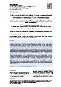 Effects of Healthy Eating Promotion on Food ... - IBIMA Publishing