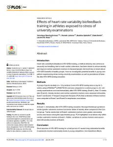 Effects of heart rate variability biofeedback training in athletes ... - PLOS