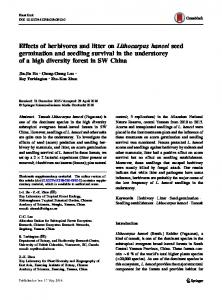 Effects of herbivores and litter on Lithocarpus hancei seed germination ...