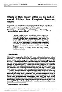 Effects of High Energy Milling on the Carboncoated Lithium Iron