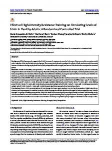 Effects of High-Intensity Resistance Training on Circulating Levels of ...