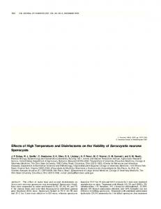 Effects of High Temperature and Disinfectants on the Viability ... - BioOne