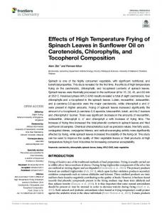 Effects of High Temperature Frying of Spinach