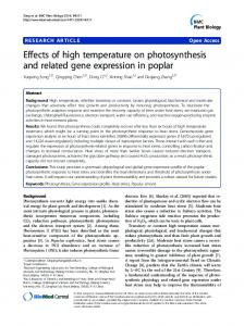 Effects of high temperature on photosynthesis and ... - BioMedSearch