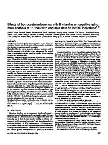 Effects of homocysteine lowering with B vitamins on ... - CiteSeerX
