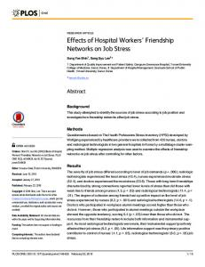 Effects of Hospital Workers' Friendship Networks on Job Stress - PLOS