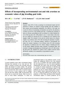 Effects of incorporating environmental cost and ... - Wiley Online Library