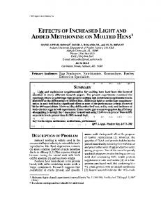 effects of increased light and added methionine on molted hens