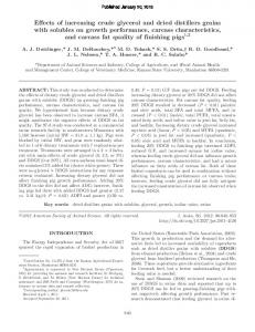 Effects of increasing crude glycerol and dried ... - Semantic Scholar