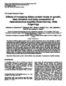 Effects of increasing dietary protein levels on growth, feed utilization ...