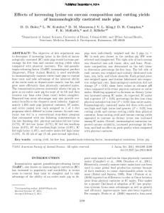 Effects of increasing lysine on carcass composition ... - Semantic Scholar