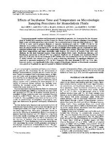 Effects of Incubation Time and Temperature on Microbiologic ...