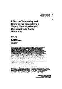 Effects of Inequality and Reasons for Inequality on Group ... - CiteSeerX