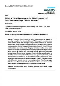 Effects of Initial Symmetry on the Global Symmetry of One ... - MDPI