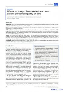 Effects of interprofessional education on patient perceived quality of care