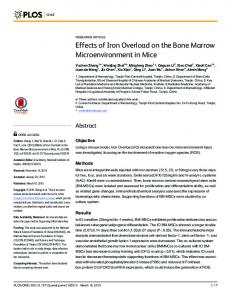 Effects of Iron Overload on the Bone Marrow Microenvironment ... - Plos