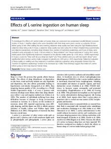 Effects of L-serine ingestion on human sleep - Core